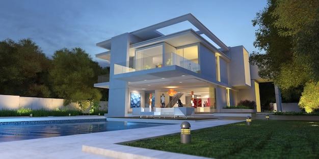 3d-weergave van een moderne villa