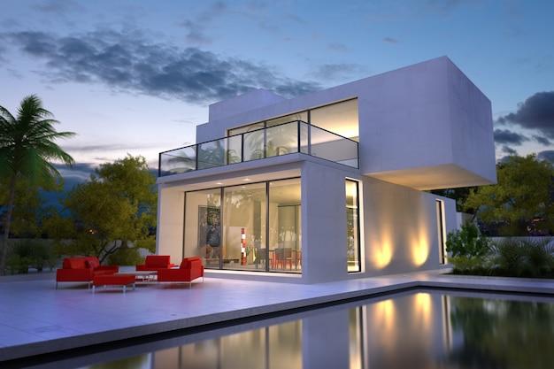 3d-weergave van een moderne witte villa met een zwembad