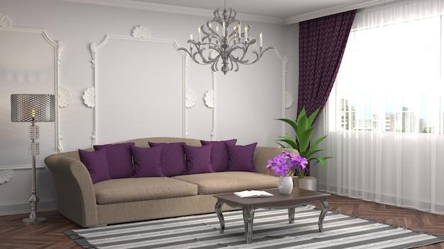3d-weergave van een moderne woonkamer met een bank