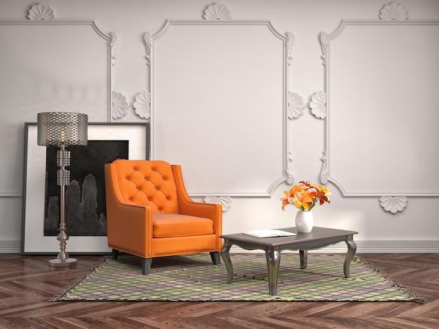 3d-weergave van een moderne woonkamer met een fauteuil