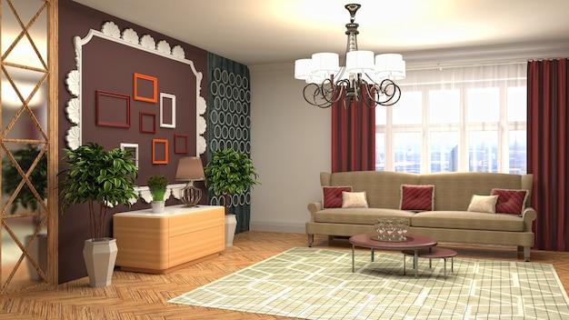 3d-weergave van een moderne woonkamer