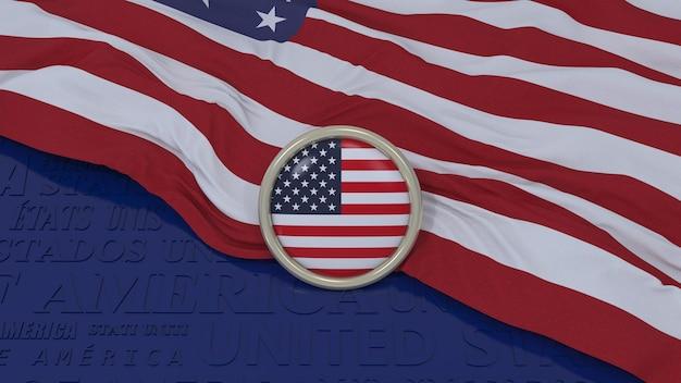 3d-weergave van een nationale vlag van de verenigde staten van amerika en glanzende knop op blauwe achtergrond