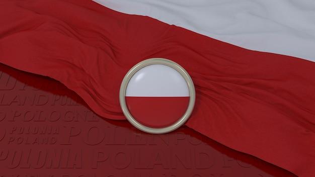 3d-weergave van een nationale vlag van polen en een glanzende knop op rode achtergrond