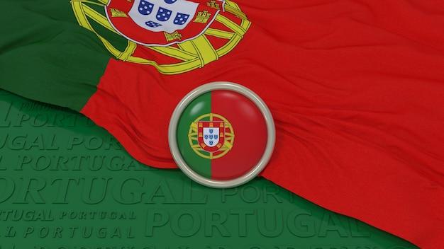 3d-weergave van een nationale vlag van portugal en een glanzend badge over groene achtergrond