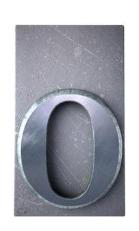 3d-weergave van een o-brief in metallic typoscript afdrukken