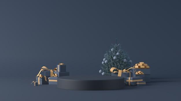 3d-weergave van een podium met kerstcadeaus