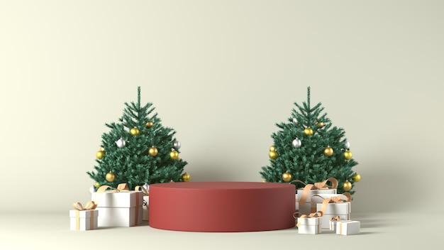 3d-weergave van een podium met kerstversiering