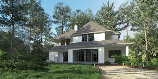 3d-weergave van een prachtige villa omgeven door vegetatie