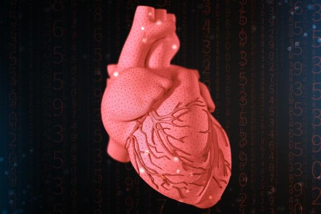 3d-weergave van een rood hart