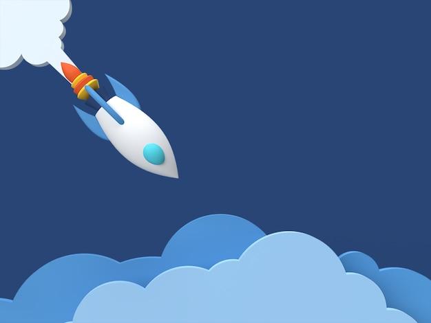 3d-weergave van een ruimteschip in de lucht