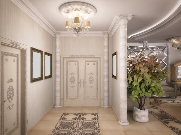 3d-weergave van een salon, gang en keuken in klassieke stijl