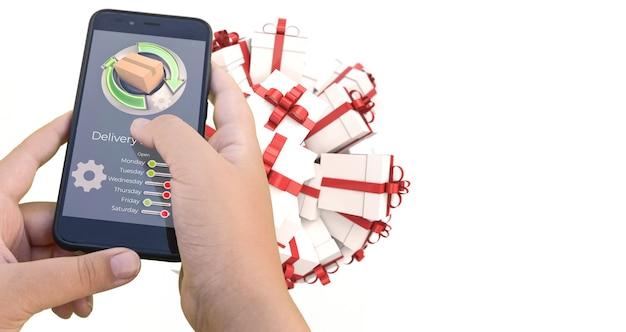3d-weergave van een smartphone-app die de online aankoop van een cadeau volgt