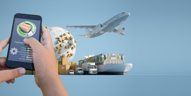 3d-weergave van een smartphone-app voor het volgen van bezorging met een vliegtuig, vrachtwagen, schip en bestelwagen op de achtergrond