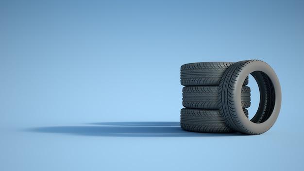3d-weergave van een stapel autobanden