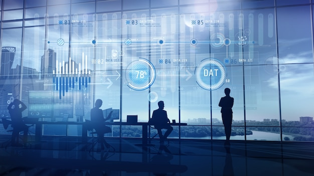3d-weergave van een team van aandelenhandelaren op kantoor en infographics
