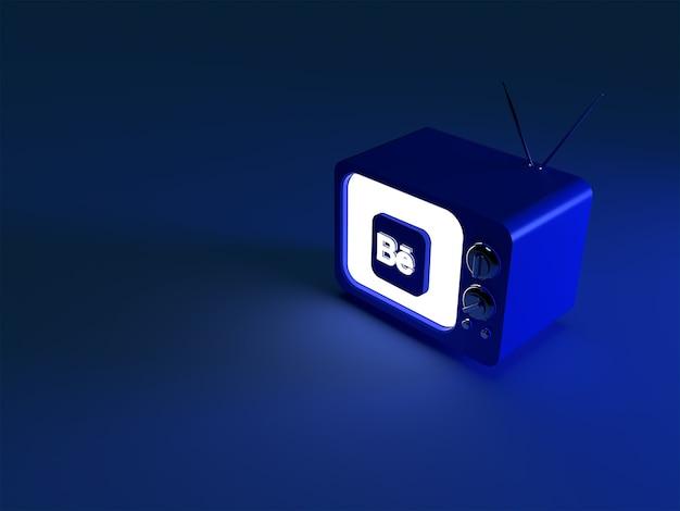 3d-weergave van een tv met een gloeiend behance-logo
