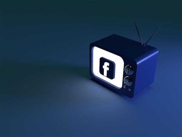 3d-weergave van een tv met een gloeiend facebook-logo