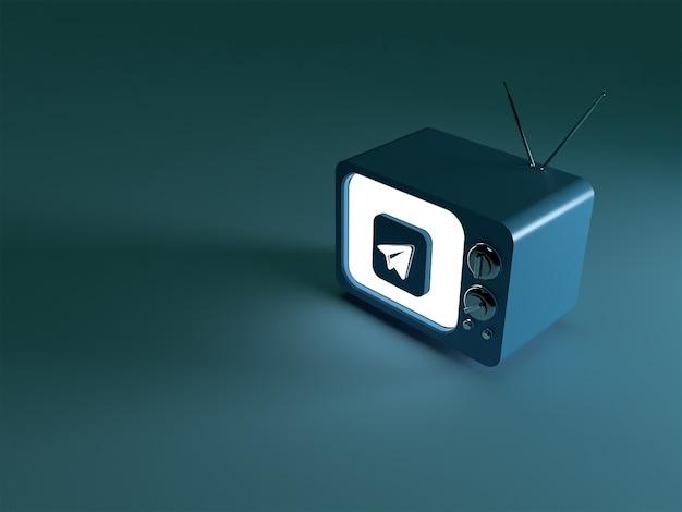 3d-weergave van een tv met een gloeiend telegram-logo