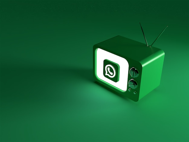 3d-weergave van een tv met een gloeiend whatsapp-logo