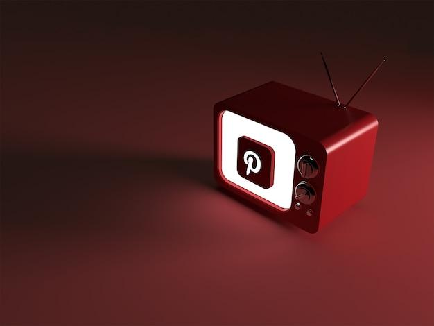 3d-weergave van een tv met gloeiend pinterest-logo