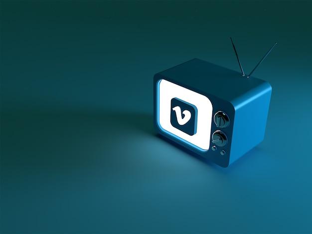 3d-weergave van een tv met gloeiend vimeo-logo