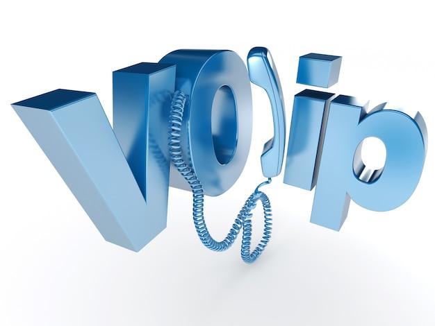 3d-weergave van een unhooked telefoonontvanger met het woord voip