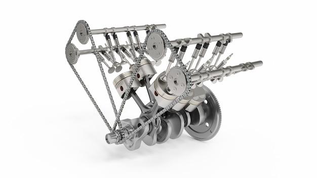 3d-weergave van een verbrandingsmotor. motoronderdelen, krukas, zuigers, brandstoftoevoersysteem. v6 motorzuigers met trapas die op wit wordt geïsoleerd. illustratie van motor van een auto binnen.