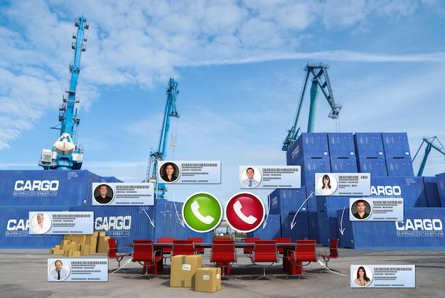 3d-weergave van een videoconferentie die plaatsvindt in de commerciële haven Premium Foto