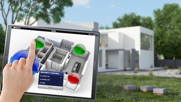 3d-weergave van een villa die op afstand wordt bediend door een persoon met een mobiel apparaat