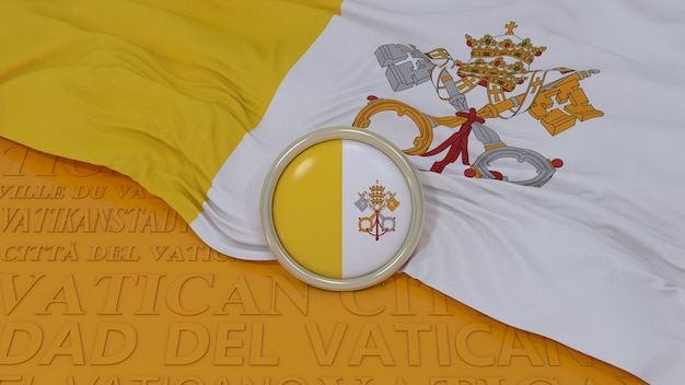 3d-weergave van een vlag van vaticaanstad