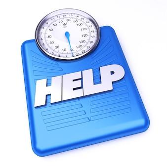 3d-weergave van een weegschaal met het woord hulp