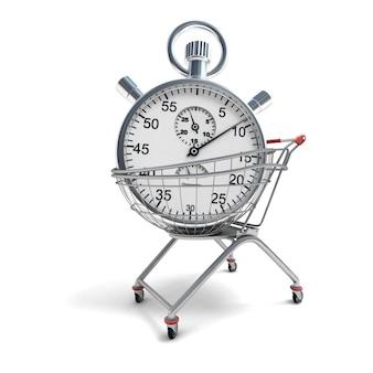 3d-weergave van een winkelwagentje met een stopwatch binnen