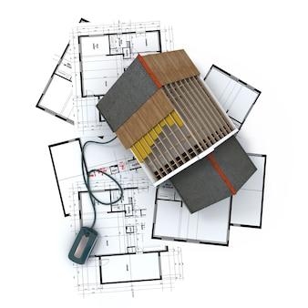 3d-weergave van een woonarchitectuurmodel bovenop blauwdrukken aangesloten op een computermuis