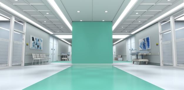 3d-weergave van een ziekenhuisinterieur met veel kopie ruimte