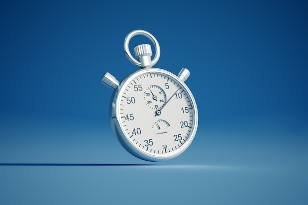 3d-weergave van een zilveren stopwatch op een gekleurde achtergrond