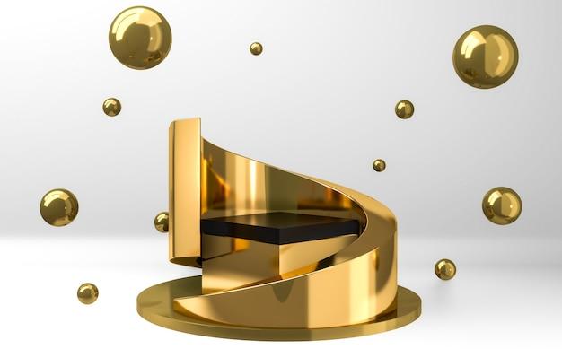 3d-weergave van een zwart en goud podium met gouden bollen op een grijze achtergrond