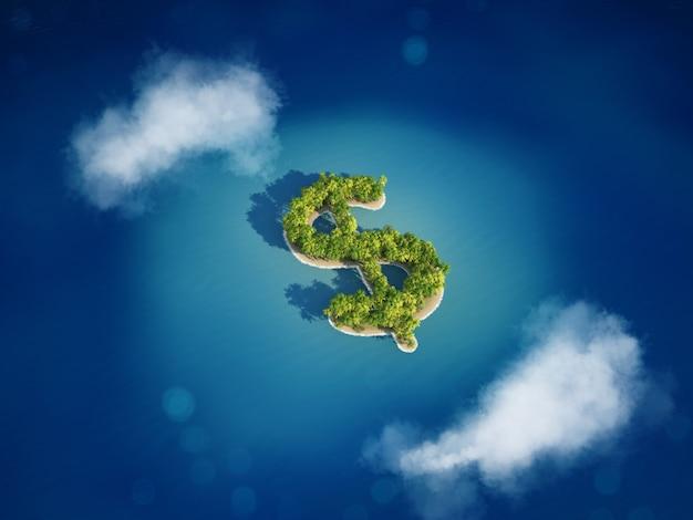 3d-weergave van eiland met de vorm van de dollar