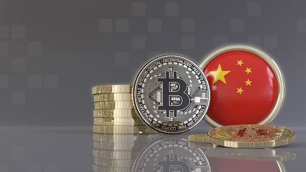 3d-weergave van enkele metalen bitcoins voor een badge met de chinese vlag