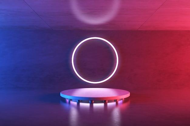 3d-weergave van futuristische gloeiende neonlichten in betonnen kamer, sci-fi-ruimte met rond podium, futuristische achtergrond.