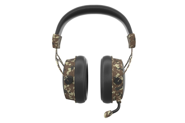 3d-weergave van gaming koptelefoon met microfoon op witte achtergrond met uitknippad. concept van cloudgaming en gamestreamingservices