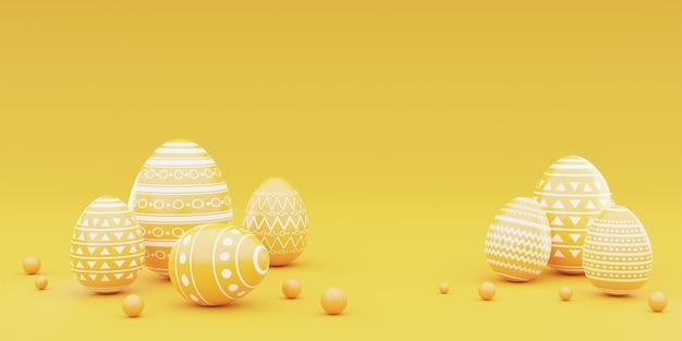 3d-weergave van gele paaseieren op gele achtergrond. gelukkig pasen-concept.