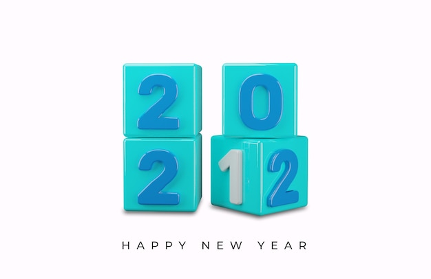 3d-weergave van gelukkig nieuwjaar 2022 teksteffect