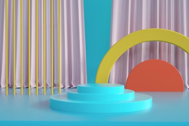 3d-weergave van geometrisch abstract platform met gordijn en podium voor mock-up display