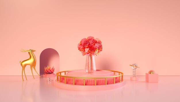 3d-weergave van geometrisch roze met bloemen op het podium