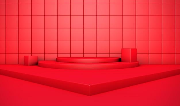 3d-weergave van geometrische abstracte rode achtergrond voor productvertoning