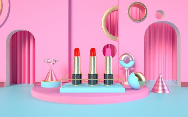 3d-weergave van geometrische platforms met verschillende lippenstiften op het podium voor mock-up display