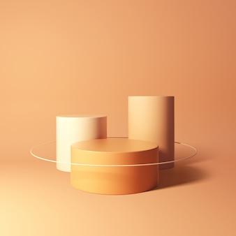 3d-weergave van geometrische podia op oranje achtergrond