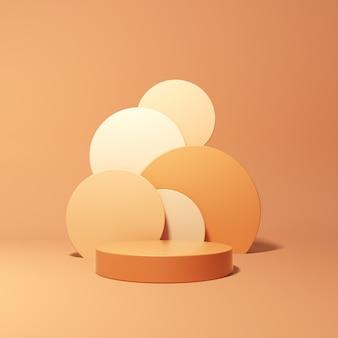 3d-weergave van geometrische podium op oranje achtergrond
