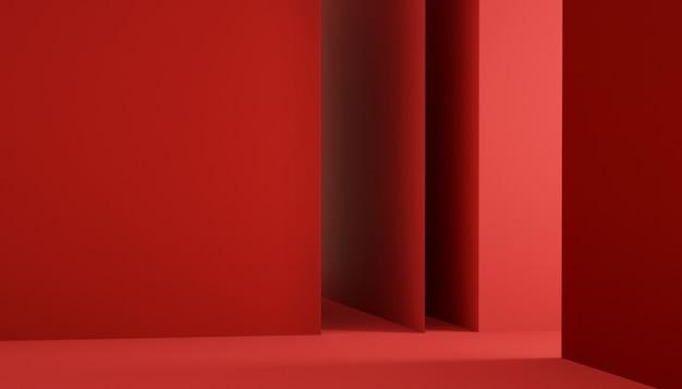 3d-weergave van geometrische rode podiumachtergrond met podium voor productvertoning