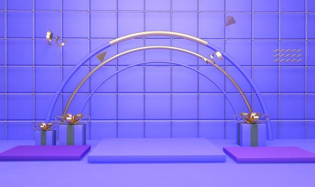 3d-weergave van geometrische vorm achtergrond met geschenkdoos voor productvertoning